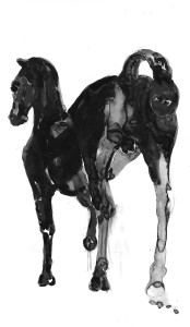 Linda Denis, Kouros Horse, Chinese Ink on Yupo
