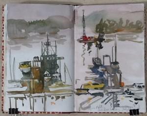 fog, dock at Tofina, Bc