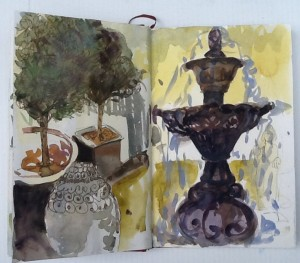 adjacent to Cuckoo Trattoria, Coombs,bc, 2014 watercolour and ink in Venezia Fabriano sketchbook