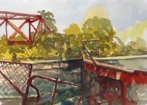 Linda Denis, Lock Coteau Landing, watercolour, 2015