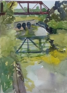 Coteau Landing, passage beside locks, watercolour, 2015
