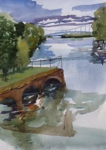 Looking West, Coteau landing, watercolour