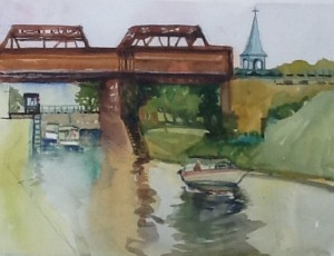 Locks, St. Anne de Bellevue,watercolour, 2015