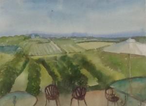 Vignoble, 1A Chemin du Boût de I'Île, Ste Pétronille, Qc, watercolour , 2015
