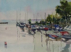 Beaconsfield waterside, watercolour