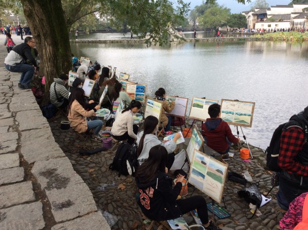 Chinese artists, plein air, photo by Michel Goossens
