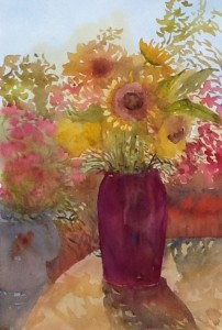 Gift of Sunflowers, watercolour, 2015
