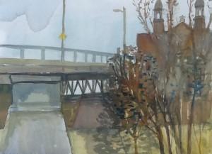 Under the bridge , Rigaud, watercolour, 2015