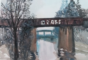 Train Bridge, watercolour, 2015