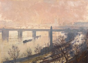 Edward Seago, View of Hungerford Bridge across the Thames, Oil on board, 26 x 36 in