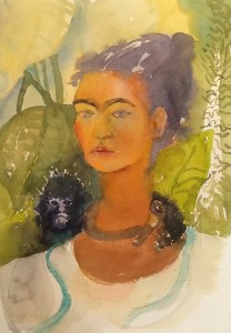 Frida and her pet monkey, watercolour 2016