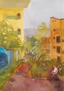 Passage way to Pacific, Guayabitos, watercolour