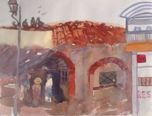 Meeting at Fishmonger, La Peñita,watercolour, 2016
