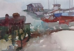 Shipyard,St. Joseph de la Rive, watercolour, 2016