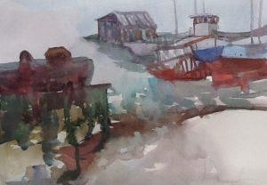 Shipyard,St. Joseph de la Rive, watercolour, 2016