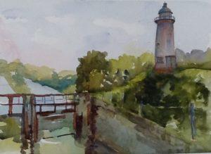 Watercolour, Derelict Lock, Soulanges Canal, Pointe Cascades, QC