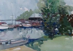 watercolour, Pointe Claire Yacht Club, QC, 2016