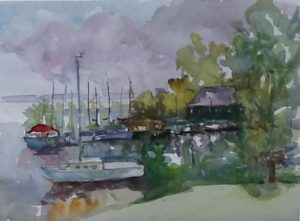 watercolour, Pointe Claire Yacht Club, 2016