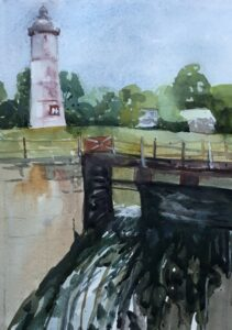 Cascade locks, watercolour 1/4 sheet, 2021